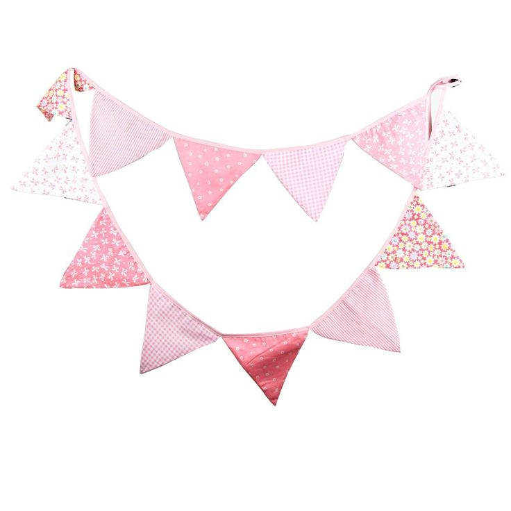 Amazon.com: Pink Vintage Floral Bowknot Wedding Bunting Fabric Triangle Pennant Banner Birthday Baby Shower Party Hanging Decoration