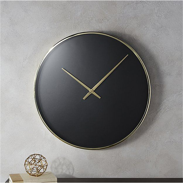 solitaire black and gold wall clock | CB2