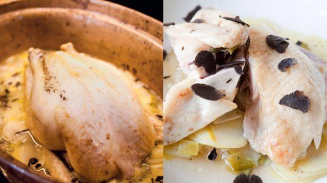 Poularde de Bresse cuite en baeckeoffe, aux pommes de terre Bintjes, artichauts, citron confit, romarin et riesling