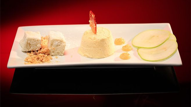 Sour Apple Parfait with Apple Marshmallow and Salted Peanut Shards