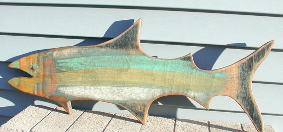 Wood fish sign. -Folkybirdsandfish