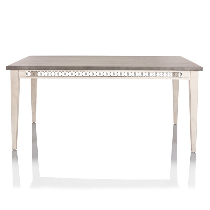 Hamptons white wash metal top dining table from Max Sparrow