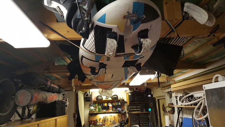 Great way to store your windsurfing equipment in your garage