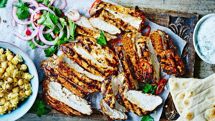 Image: Chargrilled chicken shawarma with smashed chickpeas