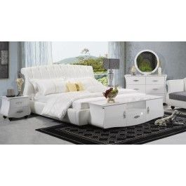 Metta Modern White Leather Bed - 2365.0000