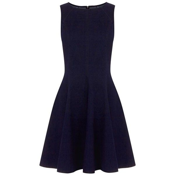 Oasis pippa structured dress (12.740 HUF) ❤ liked on Polyvore featuring dresses, denim skater dresses, sleeveless skater dress, denim fit and flare dress, sleeveless denim dresses and fit and flare dress