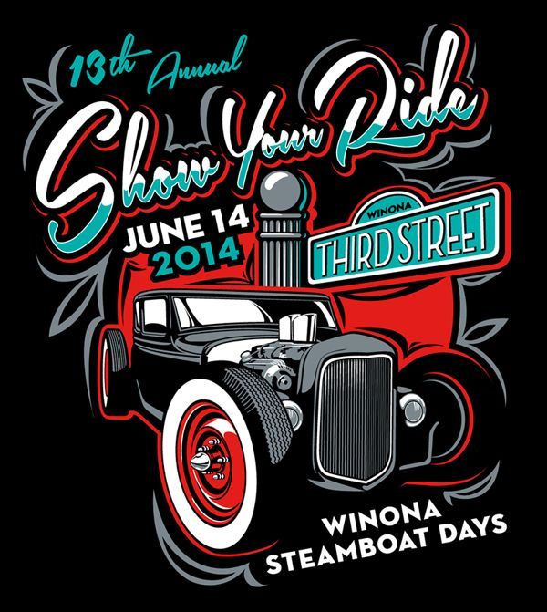 This was shown to illustrate how show events search finds a poster for events.  This would be a thumbnail with text details for content.  Steamboat Days Car Show T-Shirt and Poster Art on Behance