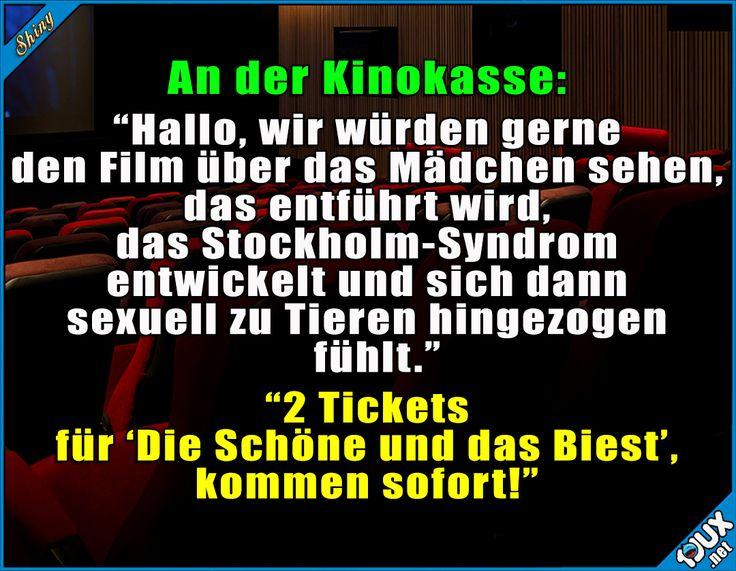 So hab ich das auch noch nie gesehen ^^' #Kino #Humor #DieSchöneunddasBiest #nurSpaß #lustig #Sprüche #Witze #Filme #Kinofilm #Stockholmsyndrom