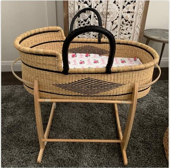 Izziwotnot Moses Basket Pearls And Poodles Baby Bassinet