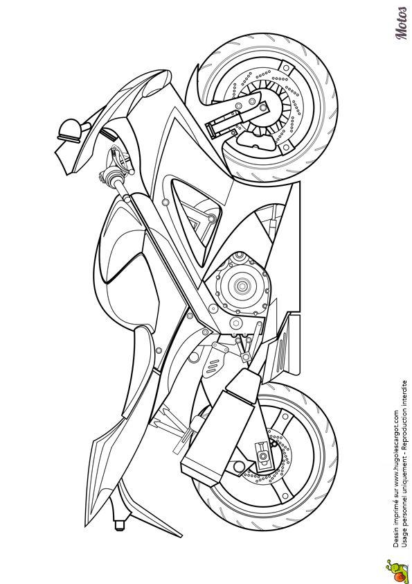 Coloriage d'une moto japonaise pour la course - Hugolescargot.com
