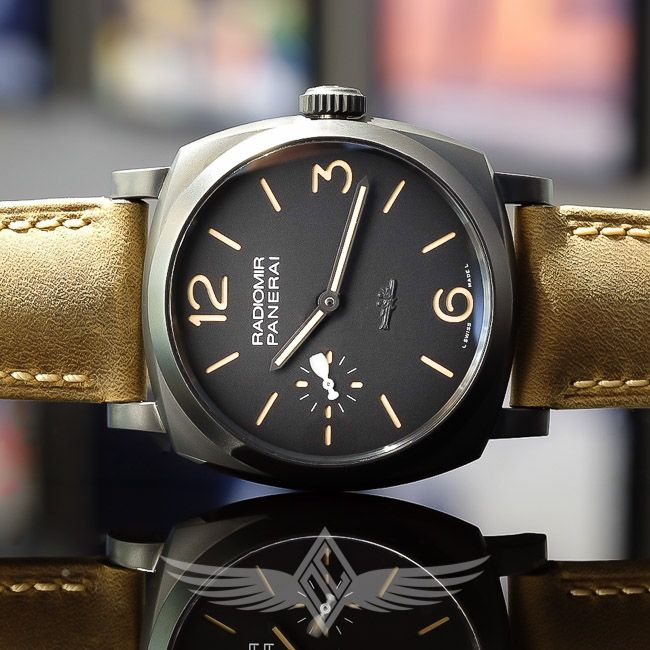 Panerai PAM532 Paneristi Forever 47mm Black DLC 1940s Radiomir Case Pig Dial Manual Wind Watch for sale at OC watch Company in Walnut Creek California.