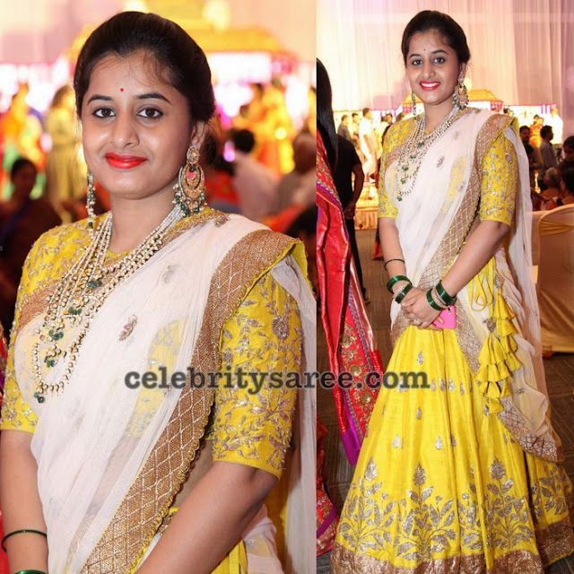 Yellow and Gold Leafy Work Half Saree