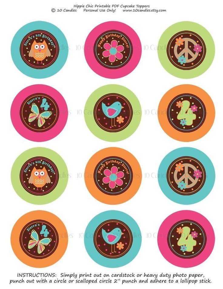 Free Printable Owl Cupcake Toppers | DIY PRINTABLE Hippie Chic Cupcake Toppers by CelebrateLilThings