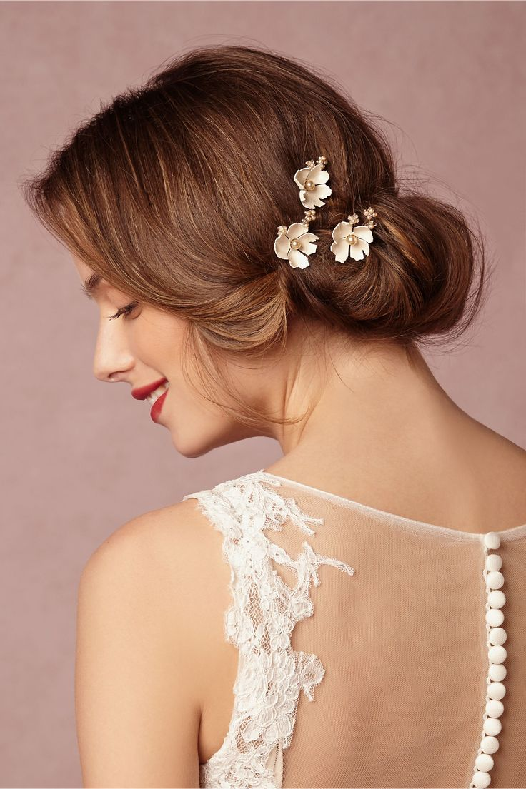 BHLDN Dogwood Flower Hairpins (3) in  Bride Veils & Headpieces at BHLDN/Love that they are dogwoods but also like this elegant low bun