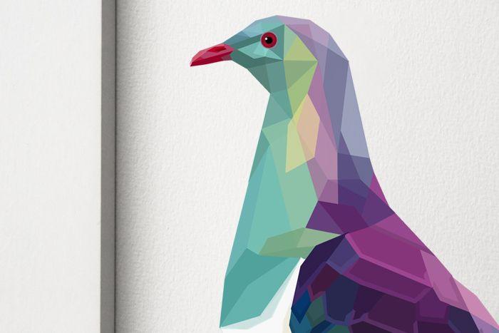Kereru / Wood pigeon, Geometric NZ bird print.