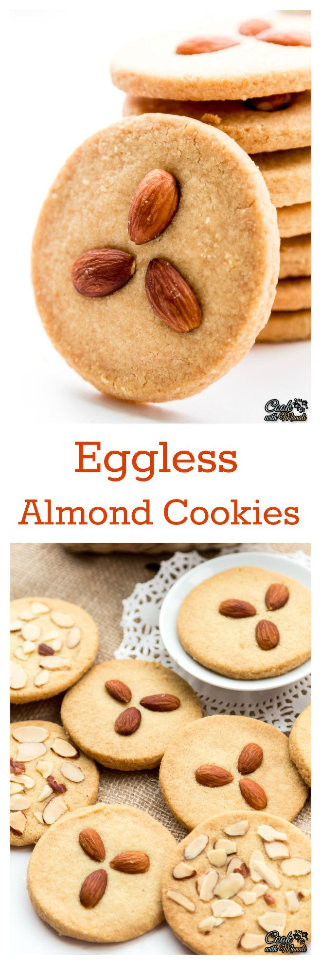 Crispy & Buttery Indian style Eggless Almond Cookies. So good with coffee or tea! Find the recipe on www.cookwithmanali.com