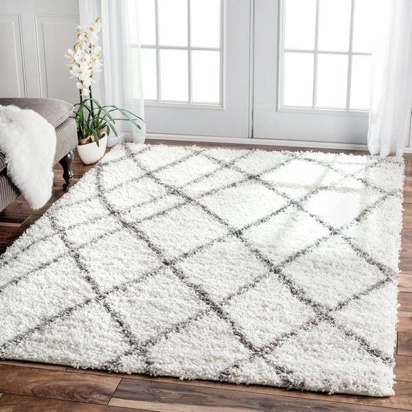 dining room- nuLOOM Alexa My Soft and Plush Moroccan Trellis White/ Grey Easy Shag Rug (9'2 x 12')