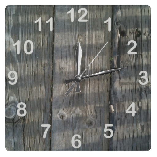 Shadow Planks Wood Deck Knotty_with numbers Wall Clock. Rustic.