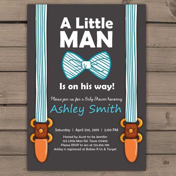 Little Man Baby Shower Invite Baby Shower Invitation Baby Boy On His Way  Bow Suspenders Tie Cute Stripes Blue Brown PRINTABLE Litm