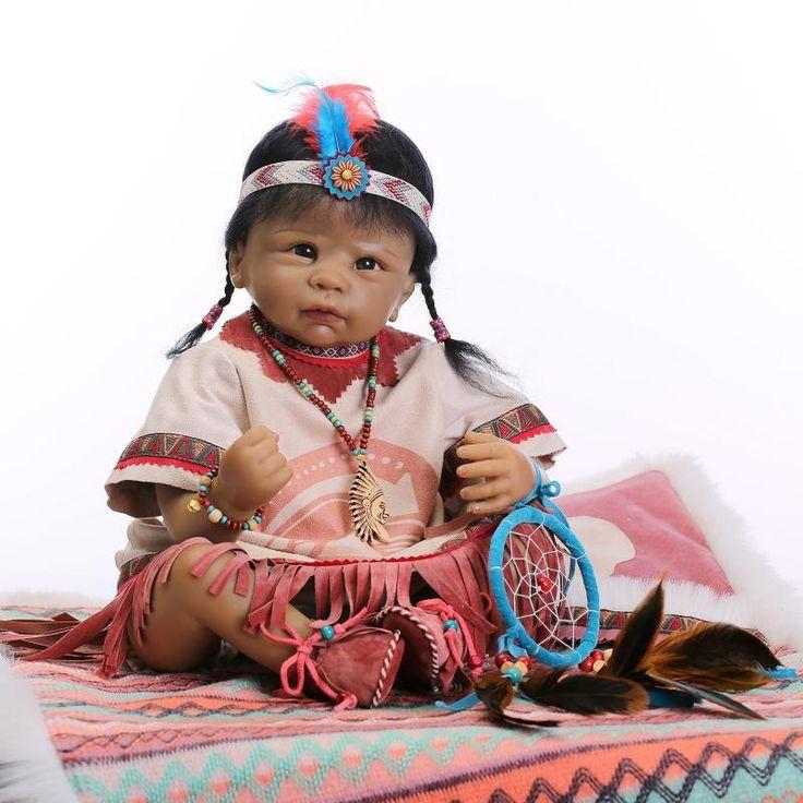 """Pas cher 22 """" pouces renaissance silicone Simulation poupée American Indian fille haut de gamme enfants jouets célèbre designer, Acheter  Poupées de qualité directement des fournisseurs de Chine:  Série respective: natif américain indien poupée collection. Doll taille: 55 cm, taille du nouveau-né Matériel: silicon"""