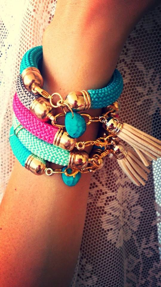 Set 5 bracelets from rope in many colours with tassels by bizeli, €25.00