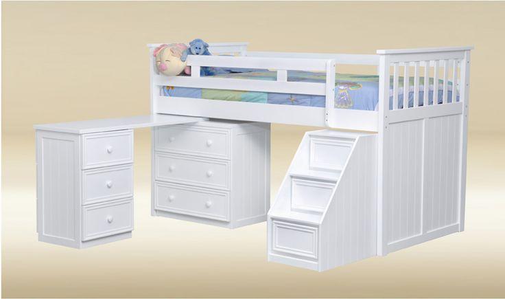 White Loft Beds For Girls | White Junior Loft Bed with Desk Chest