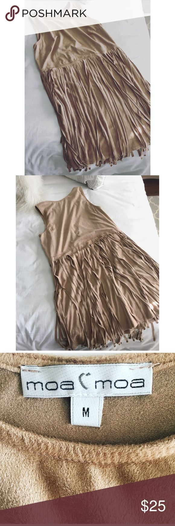 Moa Moa Suede Fringe Dress This super comfy Moa Moa suede camel colored fringed dress is perfect for an evening out or drinks with a friend. This girl is smoke free/pet free and takes care of everything I own. Moa Moa Dresses Mini