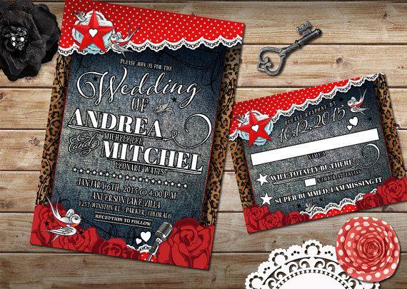 Rockabilly Wedding Invitation Set Offbeat Wedding Rockabilly Red And White Polkadot