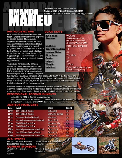 Motocross Resume Sample