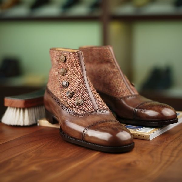 Made to Order Button-up Balmoral Boot - Saint Crispin's Model 608 | Finest Hand Crafted Men's Shoes | Leatherfoot