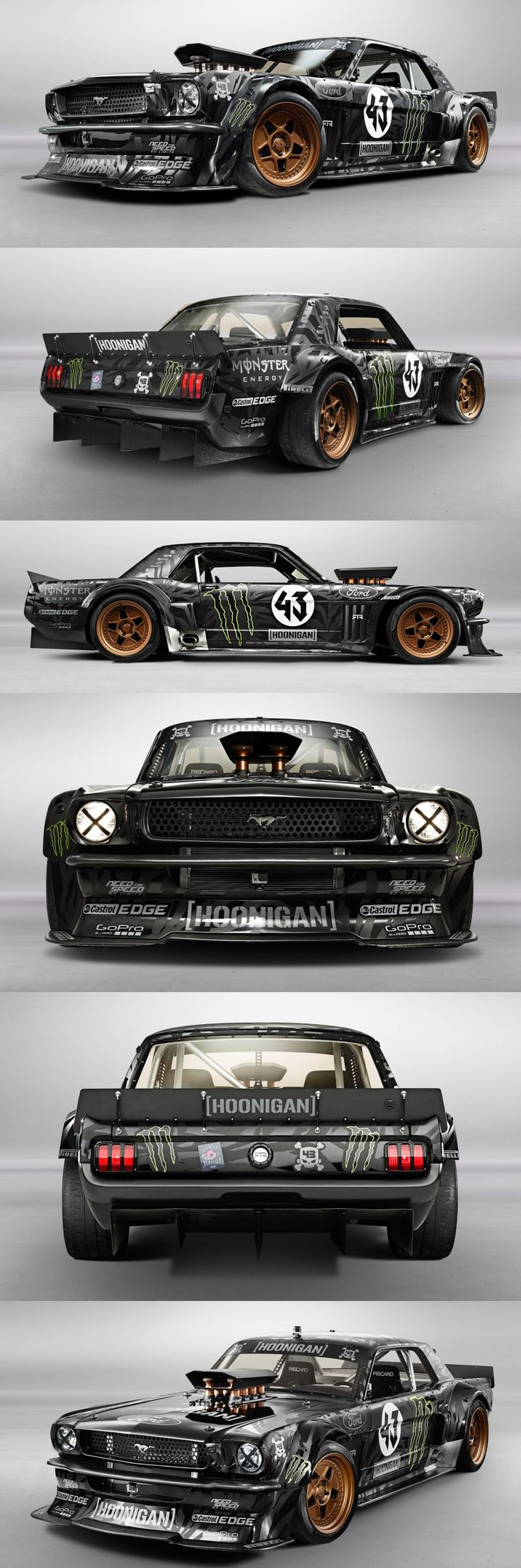 Ken Block's 'Hoonicorn' RTR - A 1965 Ford Mustang with a 410 cubic-inch, 845 horsepower Roush Yates Ford V8, all-wheel drive, and a six-speed manual gearbox.