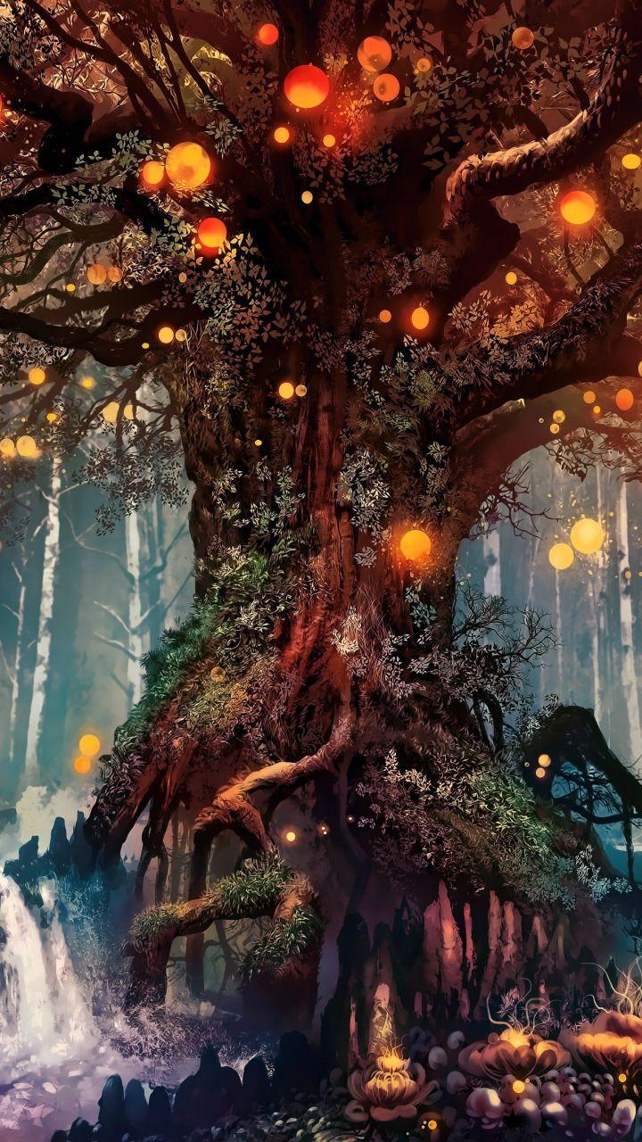 Old tree, fantasy, art, 720×1280 wallpaper