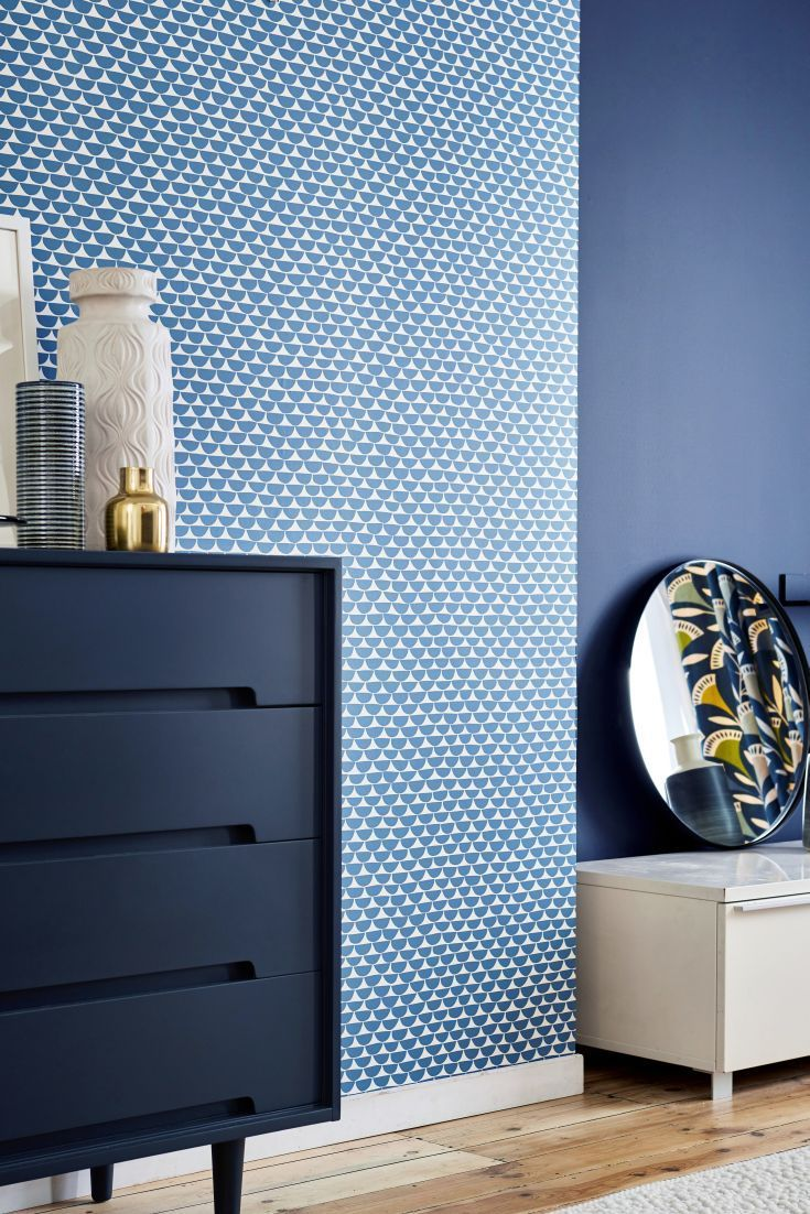 Love The Idea Of Doing Just One Feature Wall With Wallpaper So It Doesn T Get Too Visu Blue Living Room Decor Feature Wall Bedroom Wallpaper Design For Bedroom