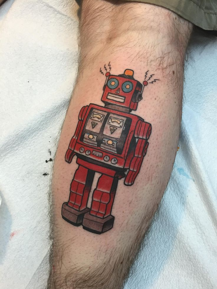 Tin Robot by Tyson Ardnt, Elm Street Tattoo (guest artist) Dallas, TX