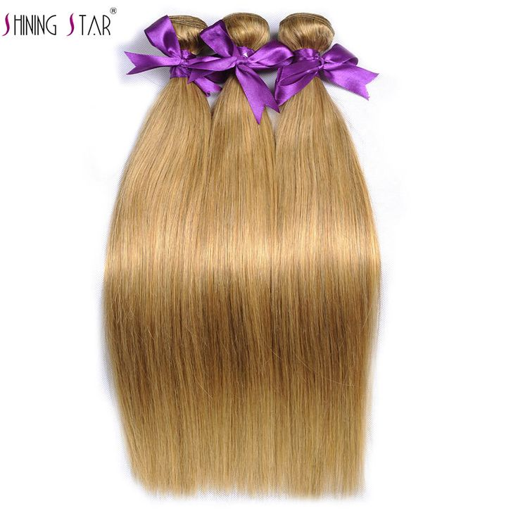 Only US $18.14 Color 27 Honey Blonde Brazilian Hair Weave Bundles Straight Human Hair Extensions Can Buy 3-4 Pieces Shining Star Non Remy Hair