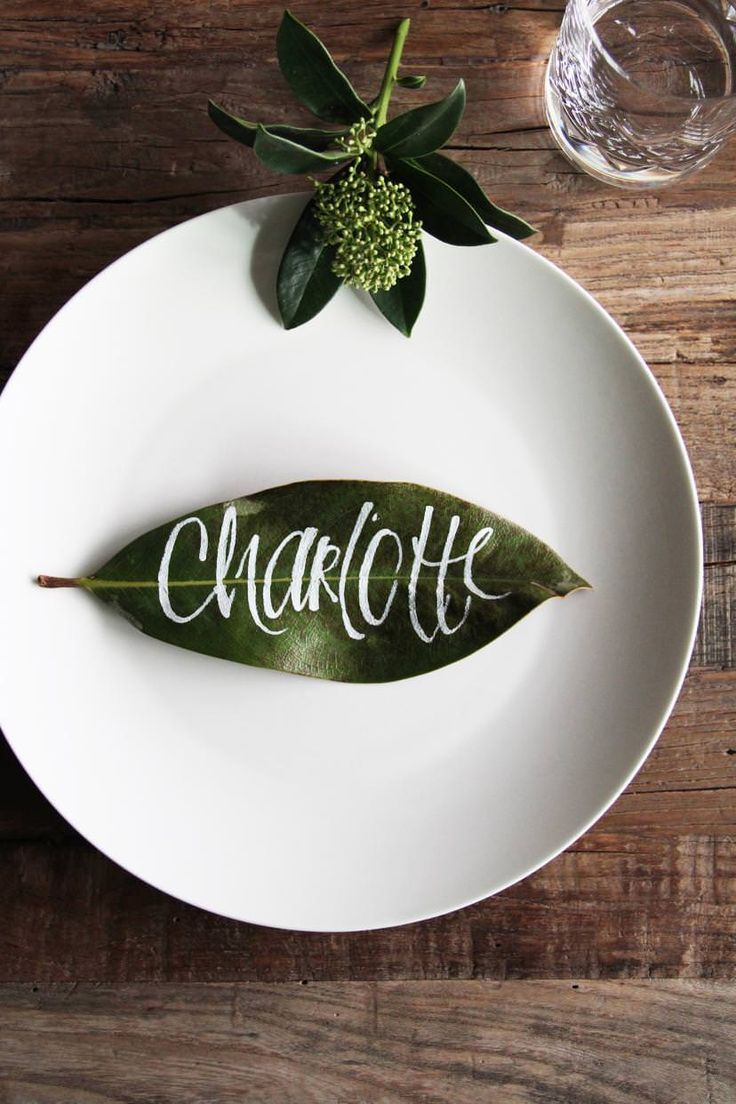 Namenskärtchen auf Magnolienblatt. (Bild: Scarlett Gaus)