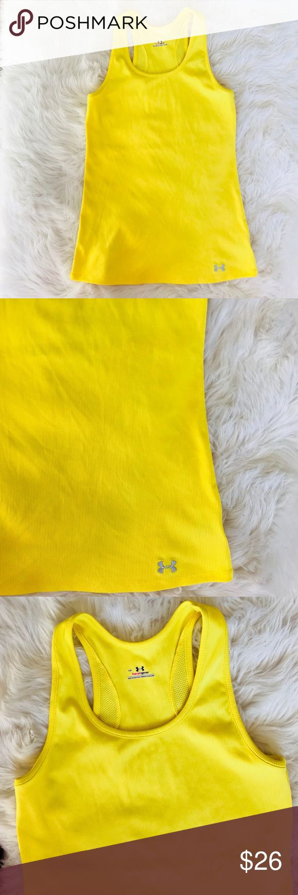 Under Armour Yellow Heat Gear Tank Top Under Armor Yellow Tank Top in excellent condition. Very good pre owned. Heat Gear.   Size L Under Armour Tops Tank Tops