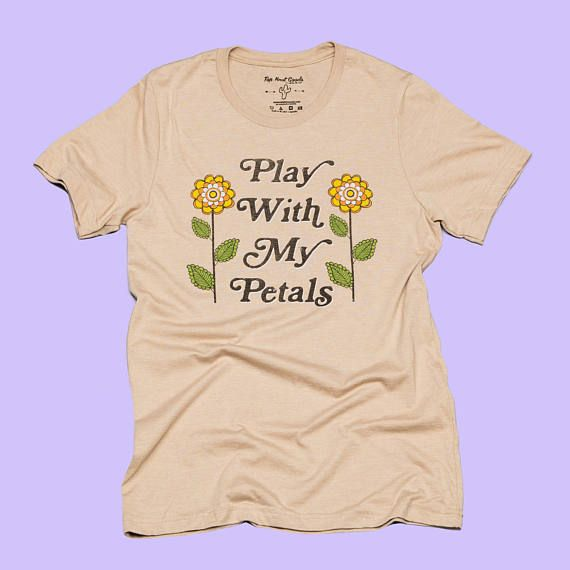 Play With My Petals / 70s vintage / 70s womens graphic t-shirt/ 70s inspired tee / womens 70s t-shirt / 70s fashion / flower t-shirt New Summer style Play With My Petals tee ...Be a flirt, it doesnt hurt. unisex sizing / model is wearing size XS (women may choose to size down depending