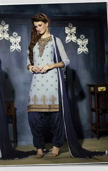 Picture of Mystical Steel Blue Georgette Patiala Salwar Kameez