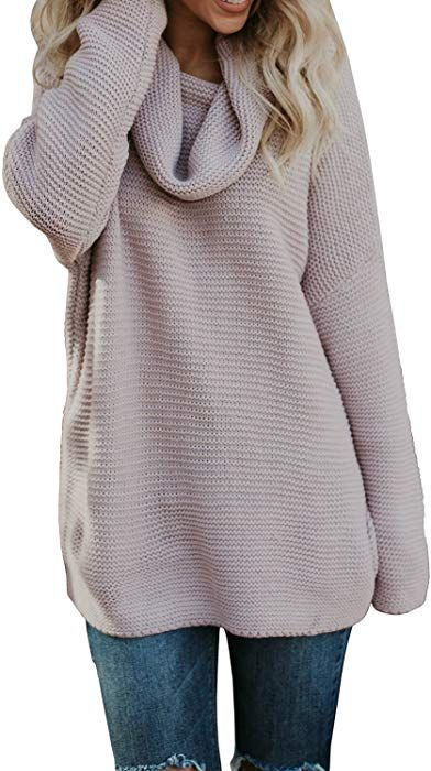 27c424fb211 Pxmoda Women's Casual Long Sleeve Turtleneck Knit Sweater Chunky Oversized Pullover  Jumper (S, Pink) at Amazon Women's Clothing store: