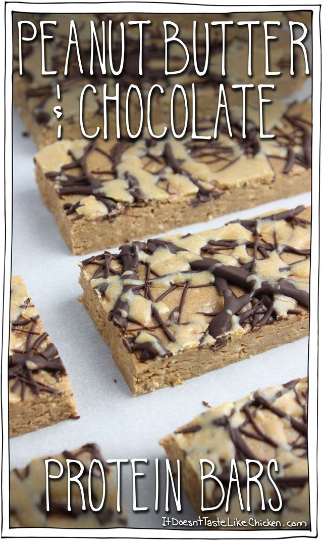 Peanut Butter Chocolate Protein Bars! These taste exactly like the inside of a peanut butter cup. No bake and so easy to make! #itdoesnttastelikechicken