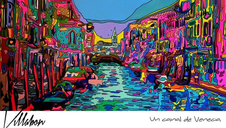 UN CANAL DE VENECIA  2.00m x 1.00m  CURVISMO  ACRILICO SOBRE LIENZO  CARLOS VILLABON   2012  http://www.lavilladebon.com