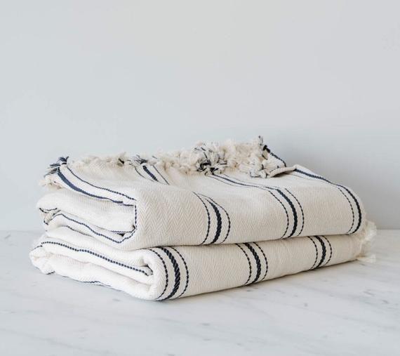 Turkish Stripe Throw Blanket 75x98 Cotton Designer King Size Etsy Striped Throw Blanket Turkish Blanket Striped Throw