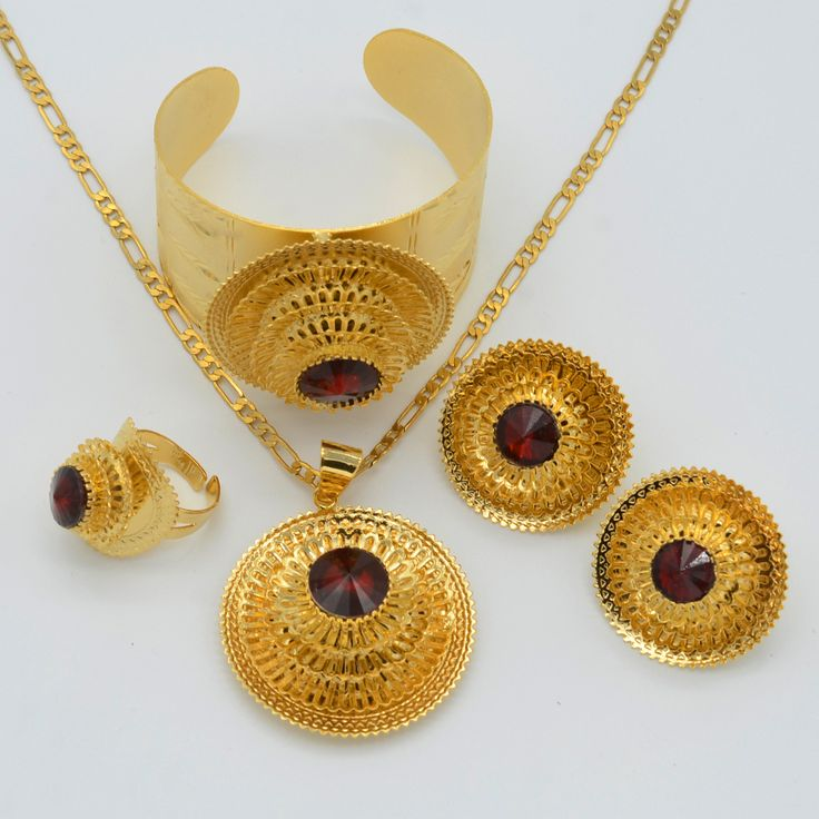 Anniyo Ethiopian Jewelry set Gold Color Pendant Necklace/Earrings/Ring/Bangle Traditional Eritrea Africa Habesha Wedding