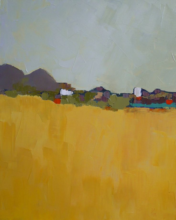 Modern Art Abstract landscape original oil painting by pamelam, $99.00