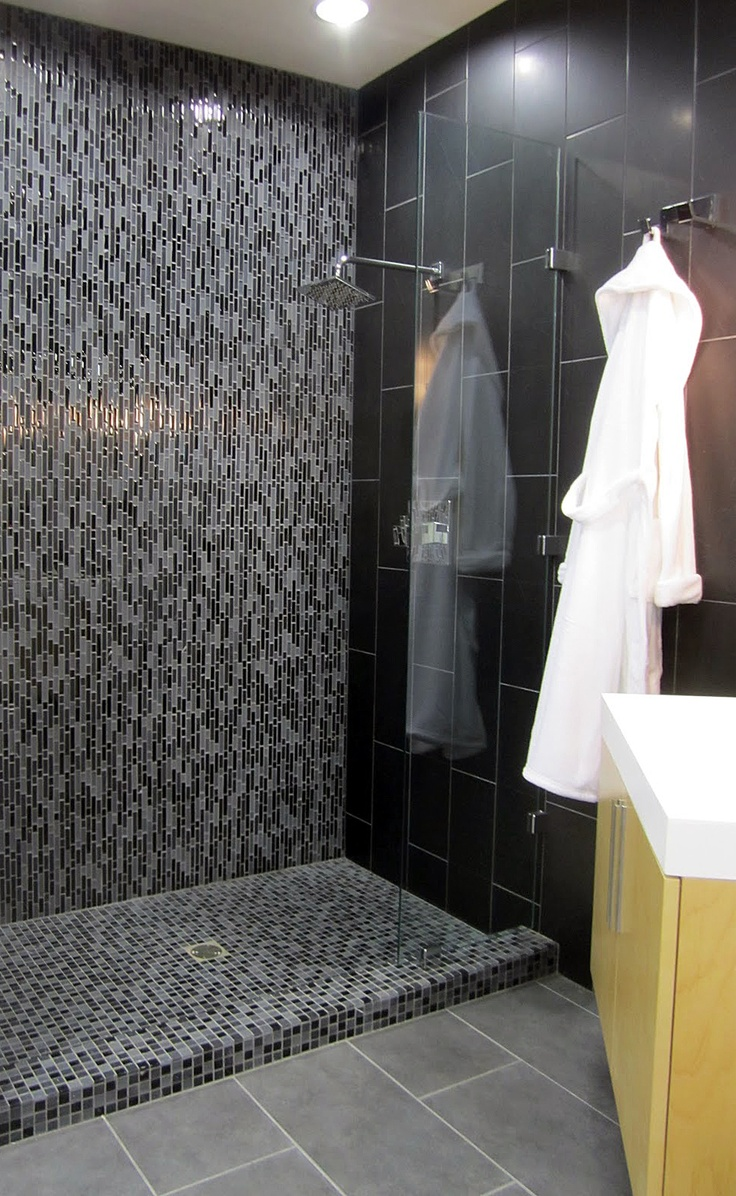 Modern Slate and Glass tile Shower inspiration.