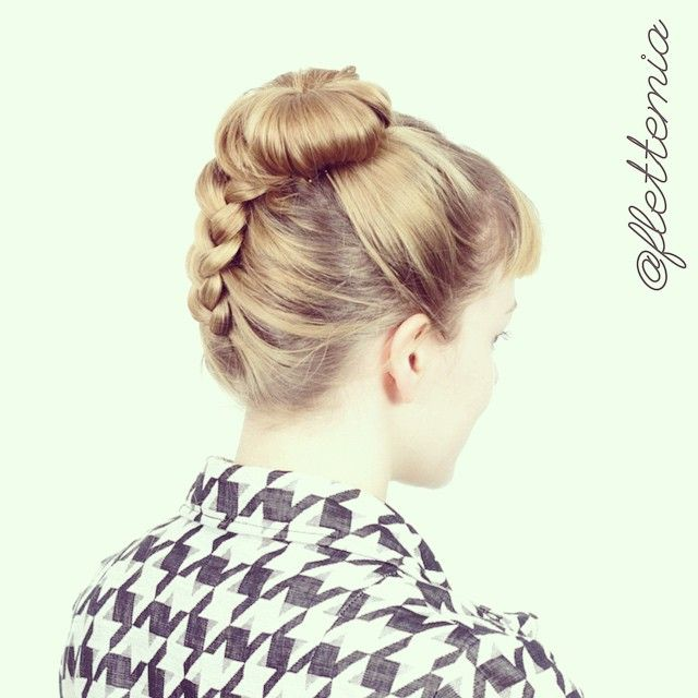 """""""The sweet @nusaibah222002 asked for a messy bun hairstyle, so here is an upside-down Dutch braid into a (kind of) messy bun on @marianneselberg """" Photo taken by @flettemia on Instagram, pinned via the InstaPin iOS App! http://www.instapinapp.com (04/11/2015)"""