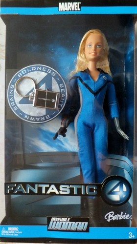 Barbie Invisable Woman Marvel Fantastic 4. From the 2005 film Fantastic 4 comes the Invisable Woman. Includes a keycharm.