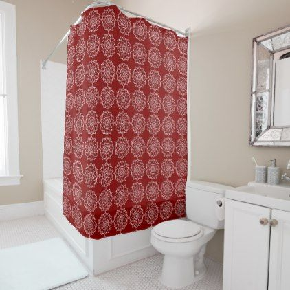#Beautiful White Mandala Flower On Red Shower Curtain - #Bathroom #Accessories #home #living