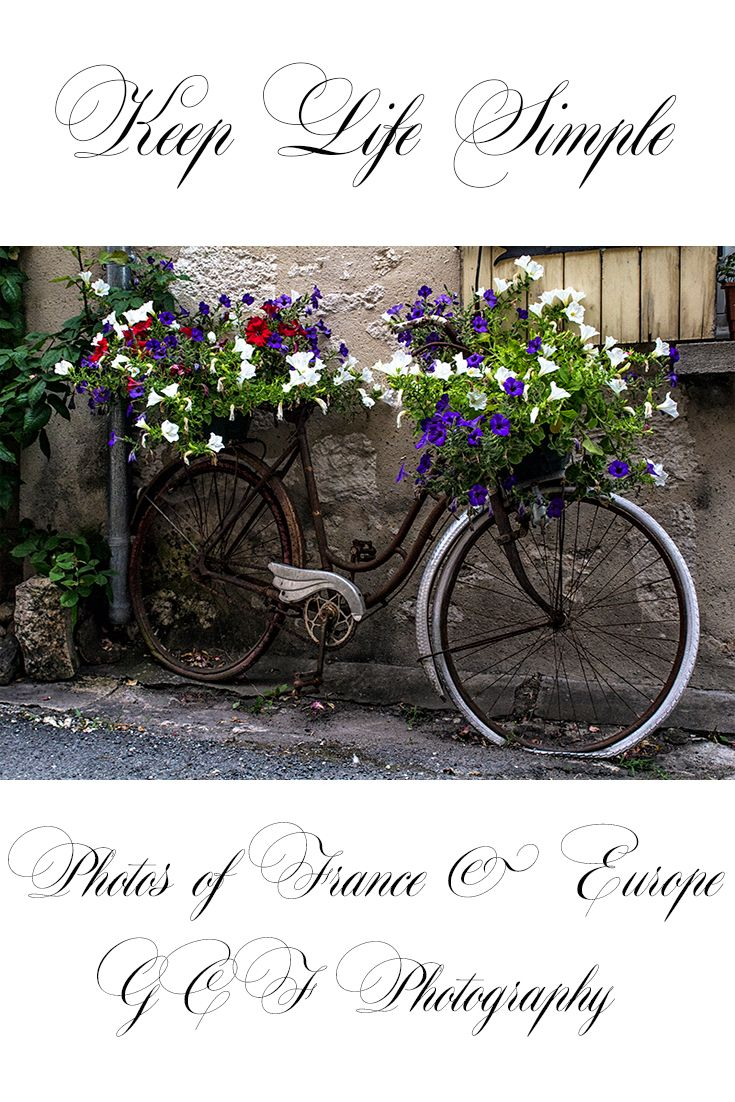 bicycle art, bike photography, French floral art, old bike with flowers, country cottage photograph, vintage bike picture, rustic home decor